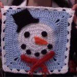 Kardan Adam Motif Kare Bebek Battaniyesi Yapılışı