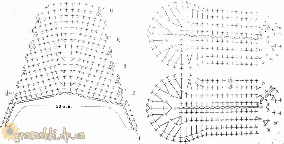 Схемы вязания тапочек на войлочной основе