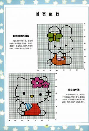 Hello Kitty ve Farklı Güzel Örgü Desen Modelleri Şemaları