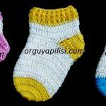 Tığ ile Topuklu Bebek Çorabı Örülüşü Anlatımı