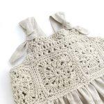 6 Adet Kare Motif ile Kumaş Çocuk Elbise Dikilişi